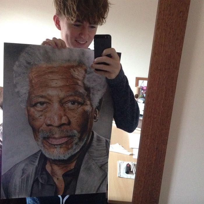 С портретом Моргана Фримана.  Джек Ид (Jack Ede), 18 лет, Британия.