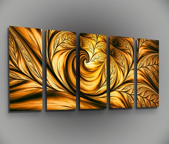 Gold Metal Contemporary Large Wall Art Photo Print Vibrant Golden Leaf Abstract