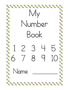 Number book with pages 1-10. Poem for forming the numeral, writing practice spots, color in # of spots in ten fram