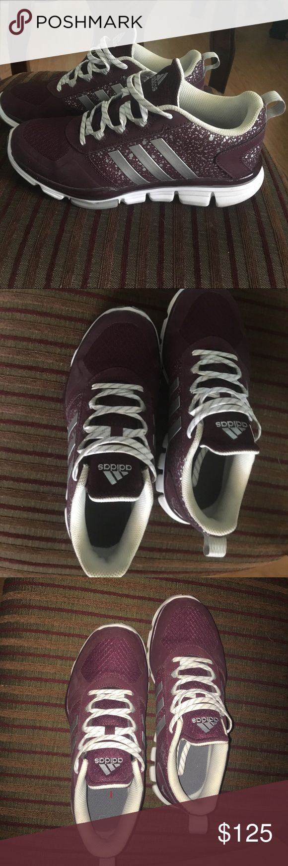 Adidas running shoes! Unique custom made Custom made adidas running shoes. Only worn once and are in great shape. They're purple with silver and grey accents. Women's Size 7! I'm always accepting offers!!:) adidas Shoes Athletic Shoes