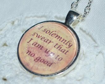 """Harry Potter Inspired """"I solemnly swear..."""" quote Marauders Map Necklace"""
