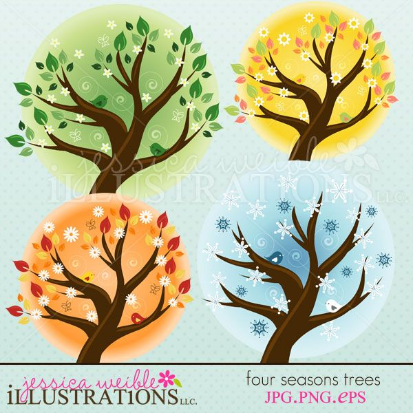 Four Seasons Trees clipart set comes with 4 clipart graphics including: a SPRING tree, a SUMMER tree, a FALL tree and a WINTER tree