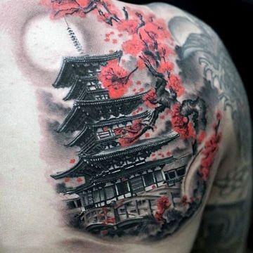 tatuajes de templos chinos con flores