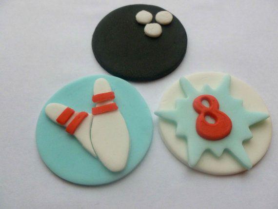 Edible Fondant Tenpin Bowling Cupcake Toppers by TheCakeTopCompany