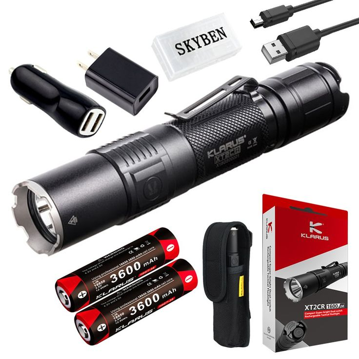 Klarus XT2CR 1600 Lumens CREE XHP35 HD E4 LED Multi-mode Dual-switch USB Rechargeable Tactical Flashlight, with 2 x 18650 Battery,Car Charger, Wall Adapter and SKYBEN Battery Case