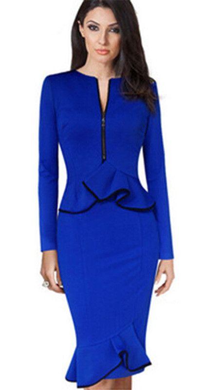 Scoop Ruffle Long Sleeve Mid-Calf Plus Size Pencil Dress