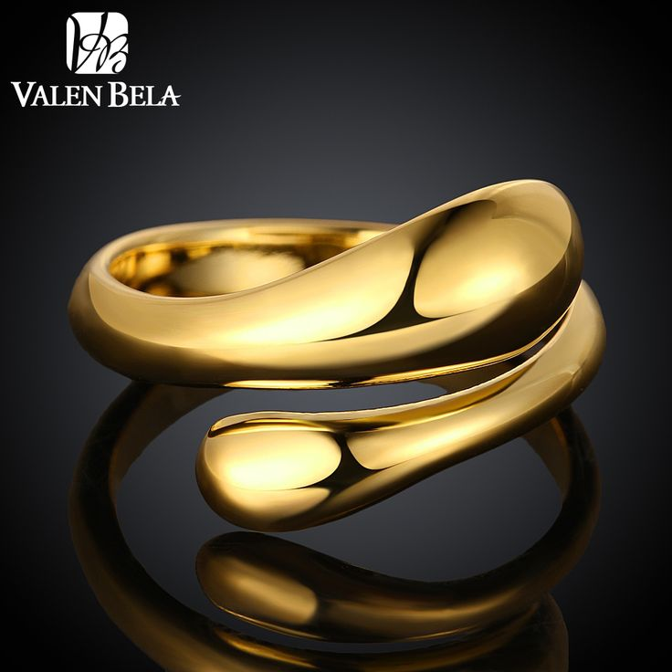 VALEN BELA Engagement Aneis  Gold Plated Ring Zircon Anelli Donna Adjustable Rings JZ5026