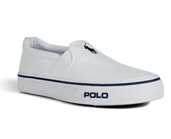 White Canvas Cantor Slip On Sneakers Polo Ralph Lauren polo player and text  logo on front