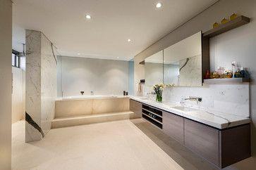 Warm brown bathroom