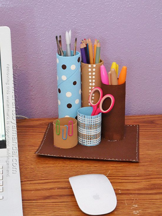 Cardboard Tube Desk Caddy   Community Post: 22 Cool Kids Crafts You Can Make From Toilet Paper Tubes