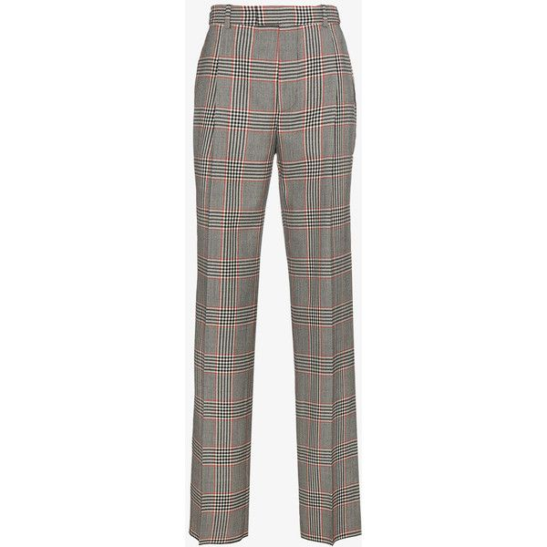 Alexander Mcqueen Checked Wide Leg Trousers (£825) ❤ liked on Polyvore featuring men's fashion, men's clothing, men's pants, men's casual pants, mens casual wool pants, mens wide leg pants, colorful mens pants, mens checkered pants and mens wool pants