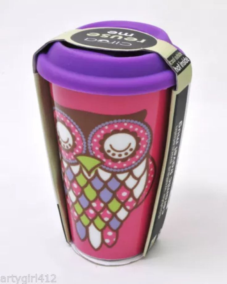 Ciroa Ceramic Double Wall Insulated Travel Coffee Mug Whimsical Owl New