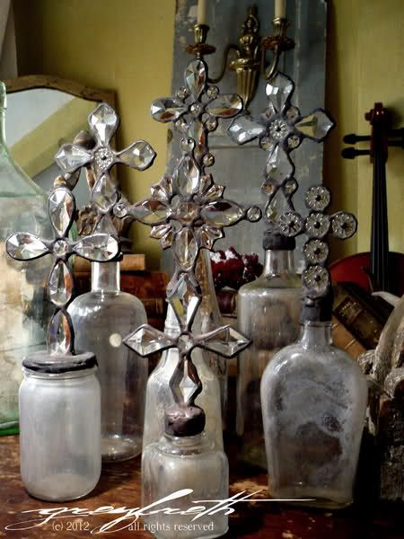 Ethereal Cross Bottles, Crystal Topiaries and Wreaths by Isabeau Grey