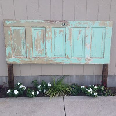 headboards against a window   ... amazing king sized headboard. How gorgeous is that distressed paint
