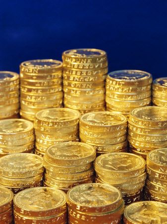 Stacks of One Pound coins