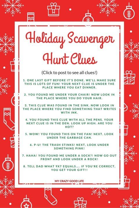 Holiday Scavenger Hunt Clues: Great for extending present time!