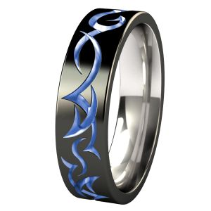 custom tribe black colored titanium ring create your own from a variety