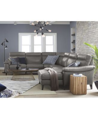 Closeout Pirello Leather Power Reclining Sectional Sofa Collection