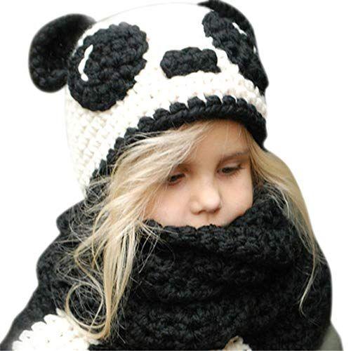 0138d7ecf2a9 Bonnet d Hiver Animal Chapeau enfants en Laine d Hiver Chapeau Echarpe  ensemble Chapeau Chaude à Dessin animaux chapeau chouette avec l Echarpe  (Panda)