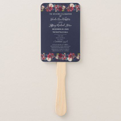 Navy Burgundy Merlot Floral Wedding Program Hand Fan - craft supplies diy custom design supply special