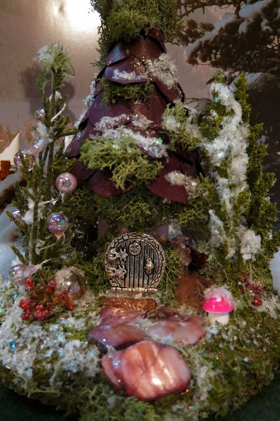 Fairy House - Fairy Pink Christmas miniature house by WoodlandFairyVillage, $32.99