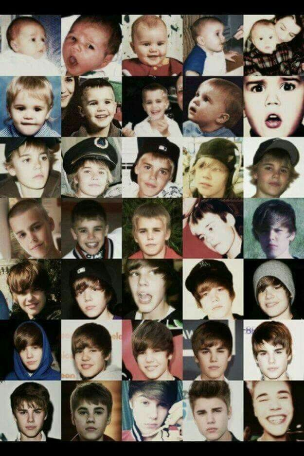 This so cute!! The evolution of Justin Bieber