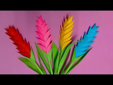 How to Make Heliconia Flower with Color Paper | DIY Paper Flowers Making - YouTube