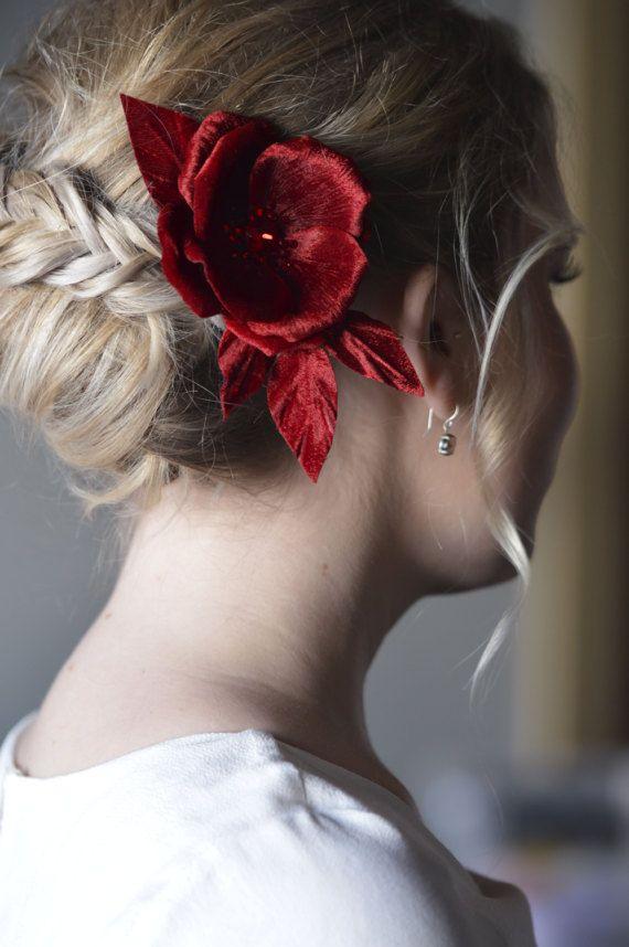 Crystal Rose - Red Silk Velvet Flower- Hair Accessories - Bridal Hair Flowers - Crystal Flower - Hair Clip - Red Fascinator - Pin Up Flowers