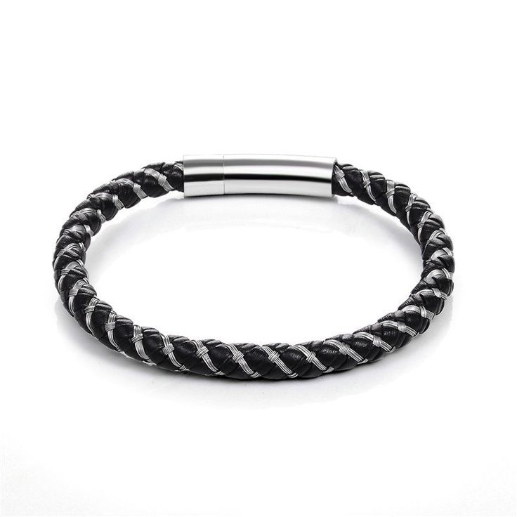 Punk Black Braided Leather Bracelet with Magnetic Buckle