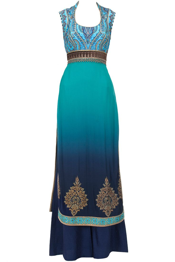 Turquoise to blue ombre embroidered kurta set available only at Pernia's Pop-Up Shop.