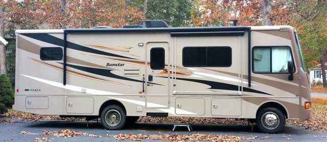 2014 Used Itasca Sunstar 30T Class A in Delaware DE.Recreational Vehicle, rv, 2014 Itasca Sunstar 30T, Looks brand new with many upgrades with very low miles. Large screen TV rises from the buffet with a slide out table. TV retracts to allow tons of sun during the day. Queen bed with beautiful cabinetry. Designed to look like a home, not an RV. Upgraded captain and passanger seat, with ton of storage and pass through storage underneath. Automatic levelers make set up a breeze, $92,000.00…