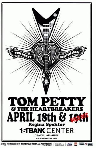 Concert poster for Tom Petty and the Heartbreakers and Regina Spektor at The First Bank Center in Broomfield, CO in 2012. 11 x 17 inches on card stock.