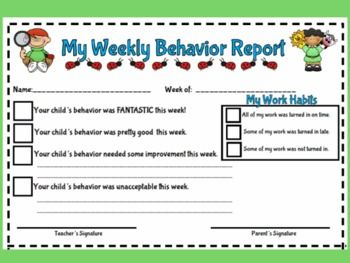 Make your weekly parent contacts a breeze with this cute and teacher friendly weekly behavior report. This behavior report includes cute graphics...
