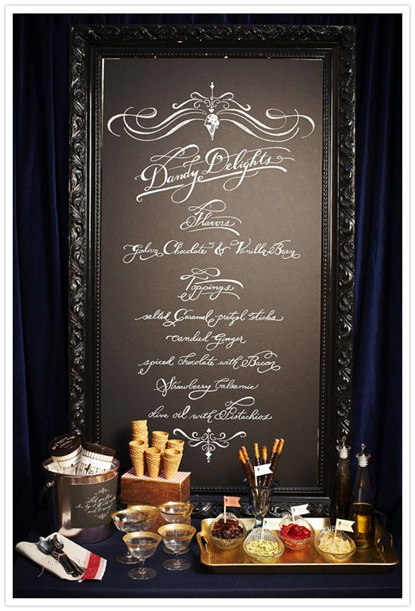 Ice cream bar  Styling: Jillian Event Design. Calligraphy: Love ♥ Jenna. Photography: Scott Clark. Props: Fork & Pencil