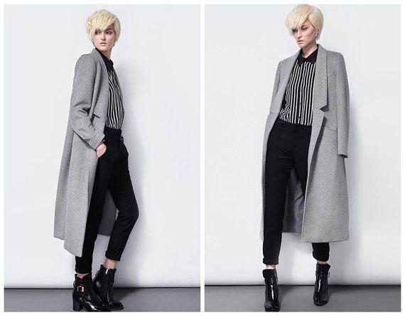Gray wool coat for women long length from BWG studios.