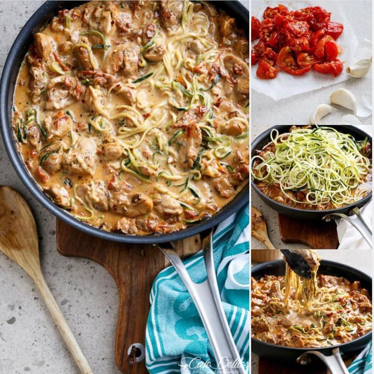 Creamy Sun Dried Tomato  Parmesan Chicken Zoodles!