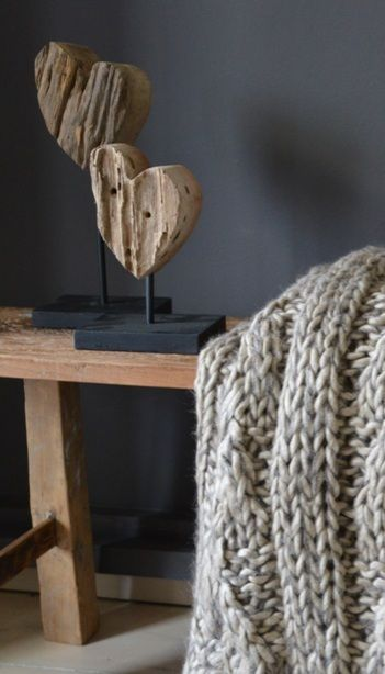 heerlijk plaid en stoere houten hartjes
