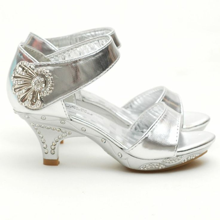 fabulous little girls 4 silver rhinestone dress heel shoe