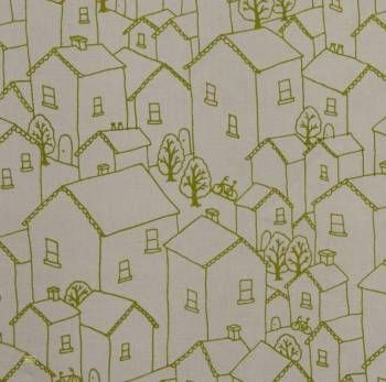 Latest Designer Fabric 'Rooftops in Green' by Lara Cameron (AUS). Designer Fabrics, curtains, blinds, cushions online