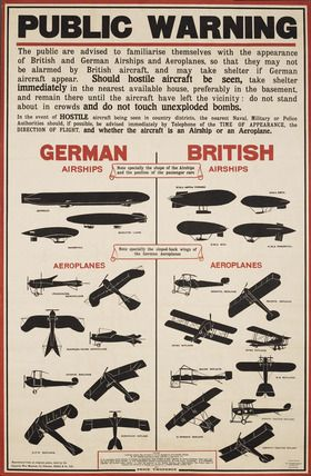 World War I aircraft information poster: