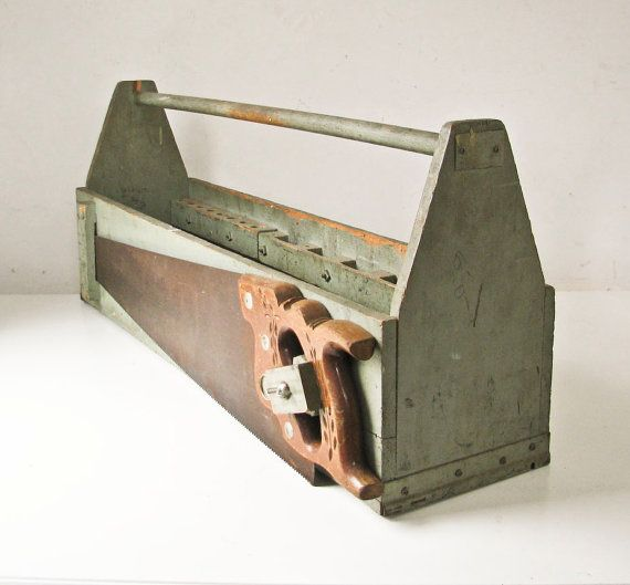 Vintage Tool Box  Carpenter  Saw  Mossy Green by BeeJayKay on Etsy