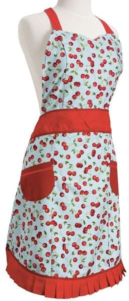 This charming, pretty and cute vintage Cherries kitchen women's Apron features a light blue apron with red cherries, red pleated bottom trim, red neck tie, and red waist tie. Apron has two red side pockets and a sweetheart neckline.