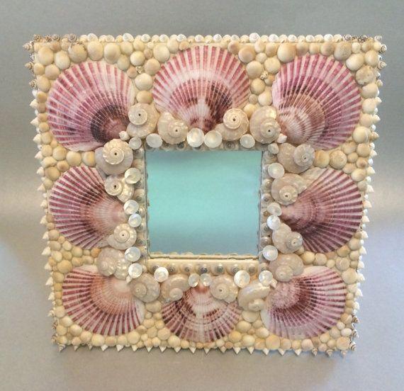 Handmade Seashell Mirror Decorative Shell Mirror Beach Decor Ocean Theme Coast Style One-of-a-Kind Unique Art Birthday Wedding Gift Shells