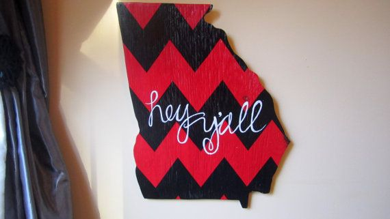 UGA colors! Go Dawgs! Georgia Sign  Southern Sign  Hey Yall Sign  by ImaginarySigns, $50.00
