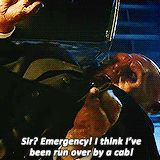 """Doctor Who: """"Sir? Emergency! I think I've been run over by a cab!"""" Strax is terrible at following safety procedures for handling memory worms. (gif)"""