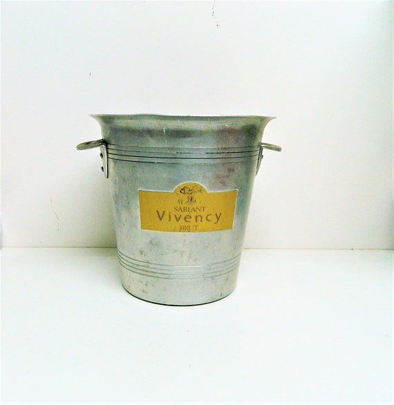 Vintage French Metal Champagne Ice Bucket Wine Cooler