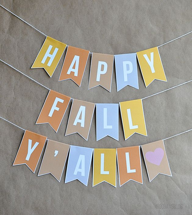 """Happy Fall Y'all"" Printable Banner www.thirtyhandmadedays.com"