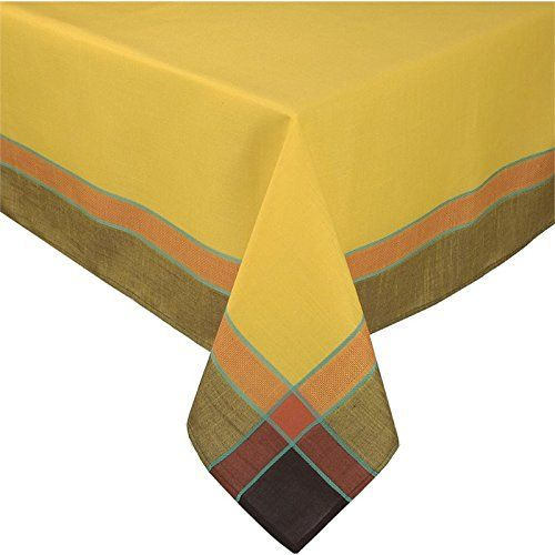Xia Home Fashions Riviera Collection Contemporary Tablecloth 60Inch by 104Inch Gold >>> Click on the image for additional details.