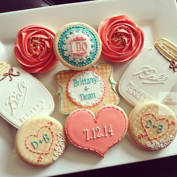 2 dozen vintage country chic bridal shower cookies in coral and teal. Burlap, mason jar, floral.