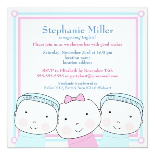 243 best triplets baby invitations images on pinterest baby triplets girl boy pink blue baby shower invitation filmwisefo Choice Image